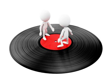 3d illustration. White people dancing on vinyl disc. Isolated white background Stock Photo