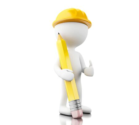 3d illustration. Architect or Engineer with helment and pencil. Building concept. Isolated white background