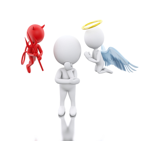 3D Illustration. White people contemplation a decision with Angel and Devil. Isolated white background. Stock Photo