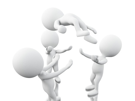 uniting: 3d renderer image. White people, team work. Business concept. Isolated white background.
