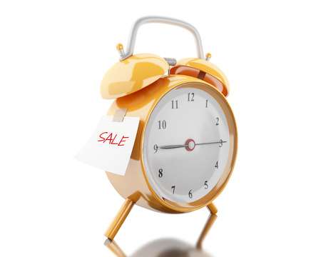 bussiness time: 3d illustration. Alarm clock with sticky paper written sale. Business concept. Isolated white background Stock Photo