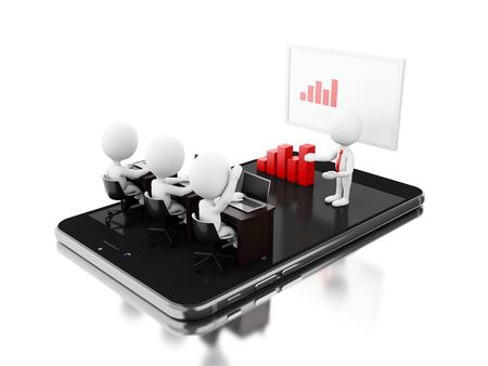 3d Illustratrion. Bussines characters having a online meeting on tablet. Bussiness and technology concept. Isolated white background Stock Photo