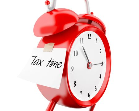 3d illustration. Alarm clock with sticky paper written tax time. Business concept. Isolated white background
