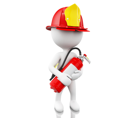 3d ilustration. Fireman with helment and extinguisher. Safety concept. Isolated white background