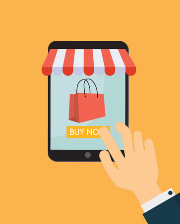 mobile website: Vector illustration. Online shopping tablet with bag shopping. E-commerce concept. Orange background