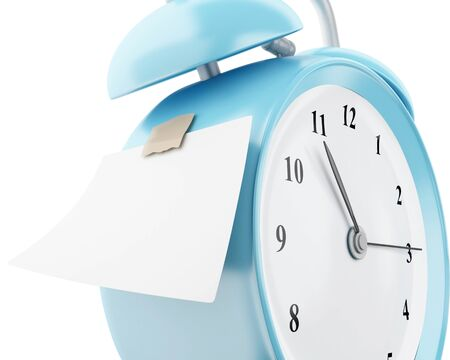 note pad: 3d illustration. Alarm clock with empty sticky paper. Reminder concept. Isolated white background