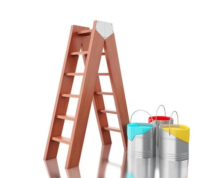 paint container: 3d renderer image. Full paint buckets with brown ladder. Isolated white background.