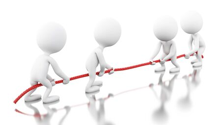 3d renderer image. White people pulling the rope. Team work concept. Isolated white background.
