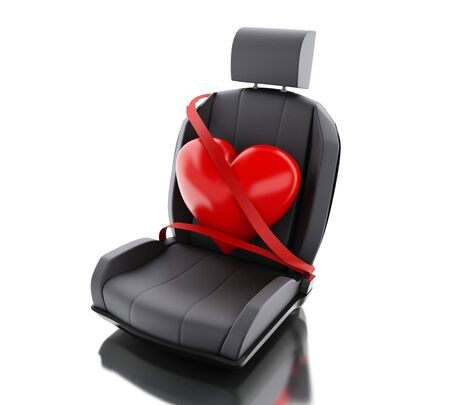 3d illustration. Heart with auto seat belt. Safety concept. Isolated white background
