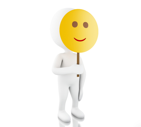 3d illustration. White people holding smiley face mask. Isolated white background Stock Photo