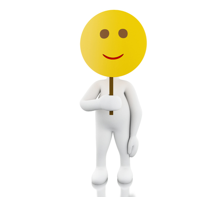 3d illustration. White people holding smiley face mask. Isolated white background 版權商用圖片