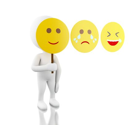 3d illustration. White people sad, funny and smiley face mask. Isolated white background