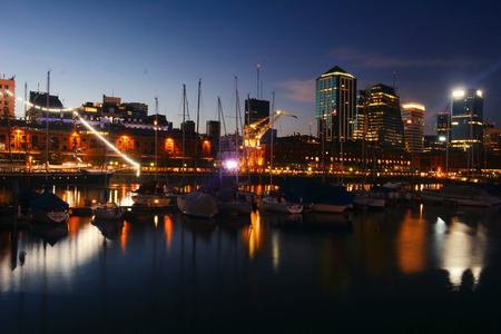 Nightly panorama of Puerto Madero neighborhood in Buenos Aires, Argentina. Tourism and touristic concept. Stock Photo