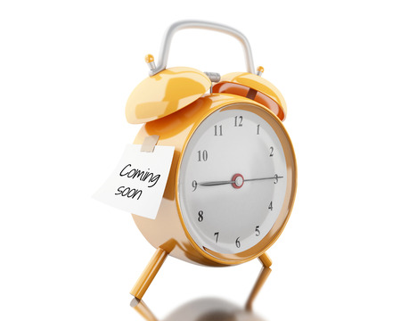 3d illustration. Alarm clock with sticky paper written coming soon. Reminder concept. Isolated white background