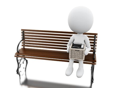 3d illustration. White people seated on a bench with his stuff. Isolated white background