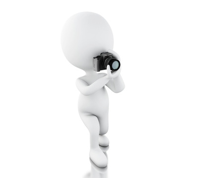 immediately: 3d illustration. White people taking a picture with camera. Professional photographer. Isolated white background Stock Photo