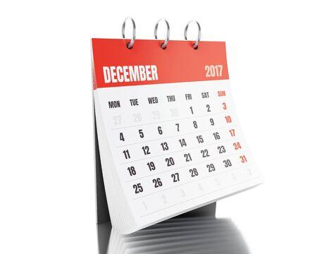 3d illustration. December calendar. Isolated white background