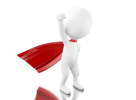 cloak: 3d renderer image. Super hero with red cape. Isolated white background. Stock Photo