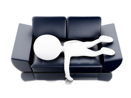 3d renderer image. White people relaxed and lying on couch. Isolated white background. Stock Photo