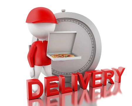 3d render image. White people holding delivery boxes. Fast moving and delivery concept. Isolated White background