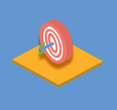 sports symbols metaphors: Vector illustration. Target with an arrow isometric flat icon. Success in business concept Illustration