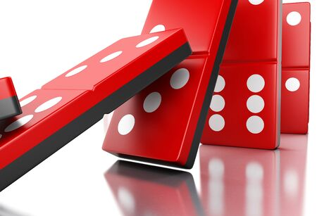 3d illustration. Red domino tiles falling in a row. Business concept. Isolated white background
