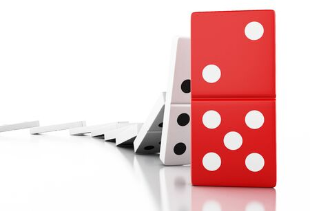 disaster: 3d illustration. Domino tiles falling in a row. Business concept. Isolated white background