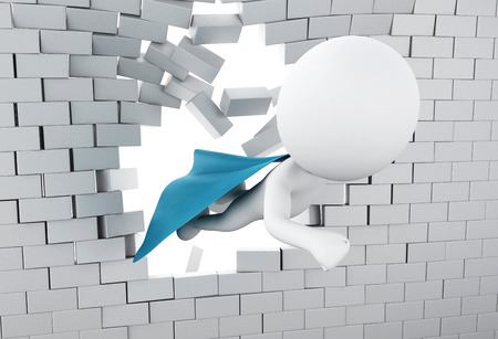 3d illustration. Super hero with blue cape flying through broken brick wall. Stock Photo