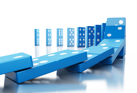 3d illustration. Blue domino tiles falling in a row. Business concept. Isolated white background