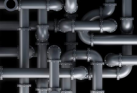 3D-Darstellung. Nahaufnahme des Rohrsystem-Hintergrund Standard-Bild