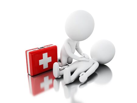 3d illustration. White people providing CPR first aid. Isolated white background Stock Photo