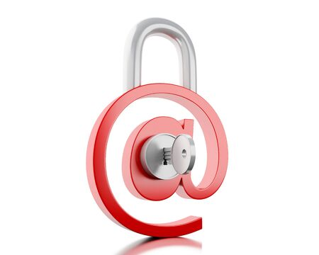 3d illustration. At sign as padlock. E-mail Safety concept. Isolated white background