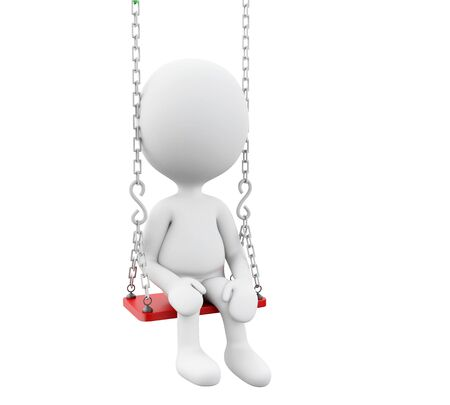 swinging: 3D Illustration. White people on the swing. Isolated white background.