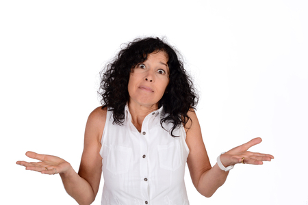 Portrait of beautiful woman who do not understand what is happening. Isolated white background.