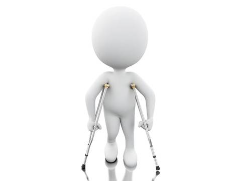 3d renderer image. White people on crutches. Isolated white background.