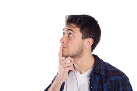 contemplated: Portrait of a young thoughtful man. Isolated white background.