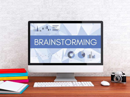 analyst: 3D illustration. Modern workspace and computer with word BRAINSTORMING. Technology and business concept. Stock Photo