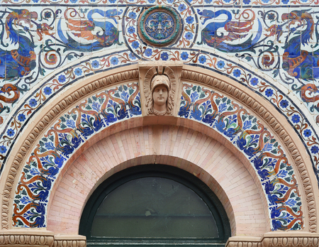 Decorative details of Palace Velasquez in Retiro park. Madrid, Spain.
