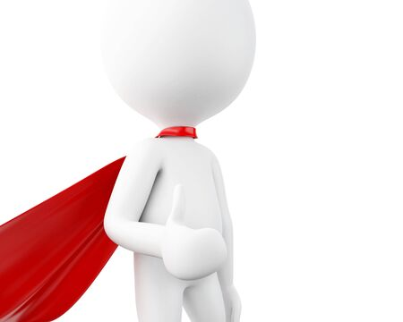 super man: 3d renderer image. Super hero with red cape. Isolated white background. Stock Photo