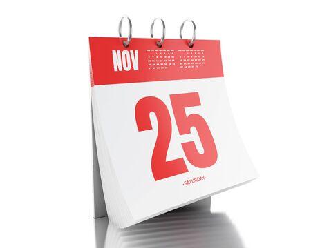 november 3d: 3d illustration. Day calendar with date November 25, 2017. Black friday concept. Isolated white background