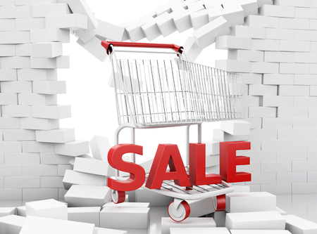 3d illustration. Sale sign of a shopping cart breaking through a brick wall. Sale and discount concept.