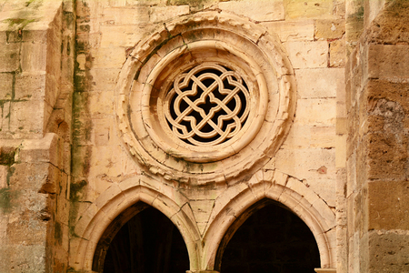 cloister: Gothic cloister of Lisbon Cathedral with tracery pattern. Lisbon - Portugal.
