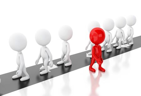 3d illustration. White people walks away from other people to choosing different and successful way. Choice concept. Isolated white background