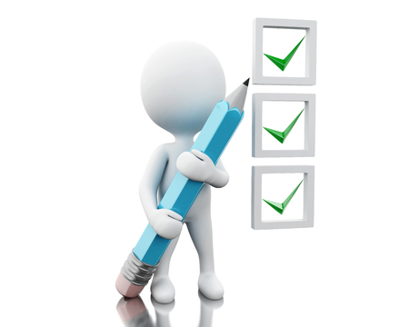 3d illustraton. White people with pen marking ticks in checklist. Isolated white background Stock Photo