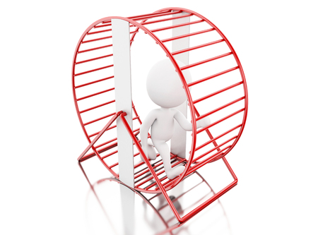 difficulties: 3d illustration. White people running in a hamster wheel. Isolated white background