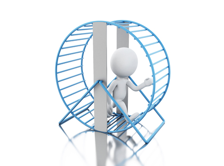 3d illustration. White people running in a hamster wheel. Isolated white background