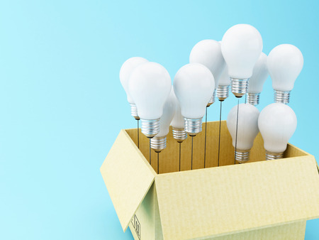 3d illustration. Light bulb set. Idea and think outside of the box concept.