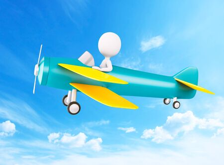 3d illustration. White people piloting an airplane  in cloudy sky