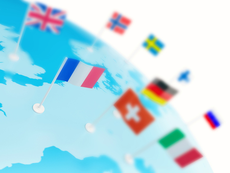 3d illustration. France flag in focus. European continent marked with countries flags. European Union concept. Isolated white background