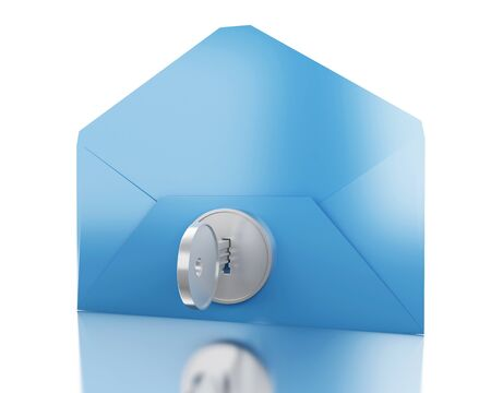 3d illustration. Blue envelope with lock. E-mail Safety concept. Isolated white background
